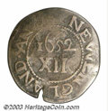1652 SHILNG Oak Tree Shilling Fine 15 Cracked Planchet, Uncertified. Noe-3, Crosby 9-G, R.6. 61.7 grains. A small planch...