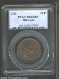1723 1/2P Hibernia Halfpenny MS65 Brown PCGS. Pellet Before H. Large 3 in date. Breen-150. A wonderfully preserved and e...