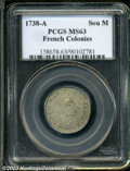 Colonials: , 1738-A SOU M French Colonies Sou Marque MS63 PCGS. Breen-...