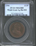 Colonials: , 1795 1/2P Washington Grate Halfpenny, Large Buttons, Reeded ...