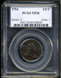 1794 1/2 C VF20 PCGS. B-6b, C-4a, R.3. A dark steel-brown example that appears to have been struck from a late die state...