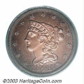 Proof Braided Hair Half Cents: , 1848 1/2 C Original PR64 Red and Brown PCGS. Breen-1a, ...