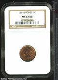1864 1C Bronze MS67 Red and Brown NGC. The bright orange-red luster is slightly subdued by an overlay of speckled brown...