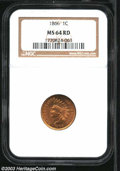 1866 1C MS64 Red NGC. Well struck and lustrous, with beautiful light golden-tan color and no contact marks whatsoever, o...