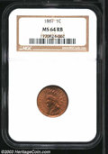 1867 1C MS64 Red and Brown NGC. Well struck and highly lustrous, with gleaming satiny surfaces. The reverse shows dark-p...