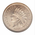 Proof Indian Cents: , 1861 1C PR64 NGC. A suitably bold striking with rather ...