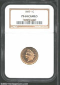 Proof Indian Cents: , 1863 1C PR64 Cameo NGC. The 1863 is a very scarce copper-...