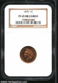 Proof Indian Cents: , 1870 1C PR65 Cameo Red and Brown NGC. A little mottled ...