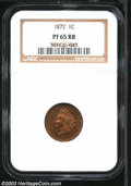 Proof Indian Cents: , 1872 1C PR65 Red and Brown NGC. Well struck with dappled ...