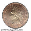 Proof Indian Cents: , 1872 1C PR65 Red PCGS. Delicate lilac patina through the ...