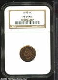 Proof Indian Cents: , 1875 1C PR64 Red NGC. Dappled ruby-violet surfaces with a ...