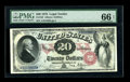 Large Size:Legal Tender Notes, Fr. 129 $20 1878 Legal Tender PMG Gem Uncirculated 66 EPQ. Thisearly $20 Legal is hugely margined on the face with excellen...