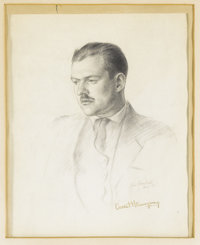Original Signed Sketch of Ernest Hemingway for the Dust Jacket of the First Edition of The Sun Also Rises. This is the o...