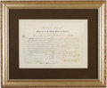 """Autographs:U.S. Presidents, Abraham Lincoln Document Signed, partially printed, one page, sight size 14.75"""" x 9.75"""", Washington, D.C., May 4, 1861. Here..."""