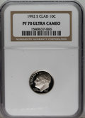 Proof Roosevelt Dimes: , 1992-S 10C Clad PR70 Deep Cameo NGC. NGC Census: (137/0). PCGSPopulation (83/0). Numismedia Wsl. Price: $120. (#95274)...