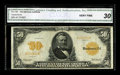 Large Size:Gold Certificates, Fr. 1199 $50 1913 Gold Certificate CGA Very Fine 30. This is thescarcer of the two signature combinations on Series 1913 $5...