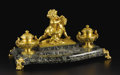 Decorative Arts, Continental:Other , A Large Marble and Gilt Bronze Inkstand. Unknown maker, Polish.Early Twentieth Century. Glass, gilt bronze. Marks: the br...