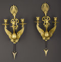 Decorative Arts, French:Lamps & Lighting, A Pair of Empire-style Three Light Sconces. Caldwell, French.Twentieth century. Gilt and patinated bronze. Marks: C ...(Total: 2 )