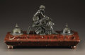 Paintings, An Empire Style Bronze and Marble Inkwell. . Unknown maker, French. 19th Century. Bronze with black patina on marble base. S...