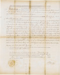 "Autographs:Statesmen, Patrick Henry as Governor of Virginia Document Signed, ""P Henry"". Partially printed land grant, one page, 15"" x 19"", Jun..."