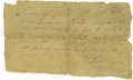 "Autographs:Statesmen, Daniel Boone Autograph Letter Signed with Financial Content A.L.S.""Daniel Boone"", 1 p., 8"" x 4.5"", n.p., February 3, 17..."