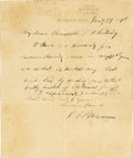"Autographs:Celebrities, Phineas T. Barnum Autograph Letter Signed Written From His Sick Bed A.L.S. ""P.T. Barnum"" on imprinted letterhead, 1p., 5..."