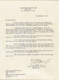 """Autographs:Military Figures, George S. Patton, Jr. Typed Letter Signed """"G S Patton Jr.,"""" one page, 7.25"""" x 10"""" visible. Headquarters Seventh Army, Se..."""