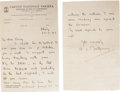 """Autographs:Military Figures, Montgomery of Alamein Autograph Letter Signed """"B.L. Montgomery,"""" two pages, 5.75"""" x 9"""", front and verso. Italy, Septembe..."""