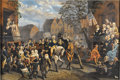 Antiques:Folk Art, Chromolithograph of George Washington Entering New York, Circa1850. This chromo is attributed to Sarony & Major by an oldn...