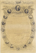Antiques:Posters & Prints, John Binns: Declaration of Independence, Framed Broadside.(Philadelphia: James Porter, 1819). An engraved broadsidefacsimi...