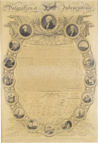 John Binns: Declaration of Independence, Framed Broadside. (Philadelphia: James Porter, 1819). An engraved broadside fac...