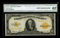 Large Size:Gold Certificates, Fr. 1173 $10 1922 Gold Certificate CGA Crisp Uncirculated 62. Whilehardly scarce in lower grades, large Gold Certificates a...