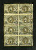 Fractional Currency:Second Issue, Fr. 1232 5c Second Issue Block of Eight Extremely Fine. This is a lightly circulated block of eight that has been plagued wi... (Total: 8 notes)