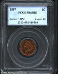 Proof Indian Cents: , 1897 1C PR65 Red PCGS. Nicely mirrored with bright ...