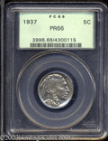 Proof Buffalo Nickels: , 1937 5C PR66 PCGS. Well struck with mildly reflective, ...