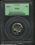 Proof Buffalo Nickels: , 1937 5C PR66 PCGS. Pastel gold and violet colors embrace ...