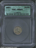 Seated Half Dimes: , 1851 H10C MS64 ICG. Medium blue-green toning blankets ...