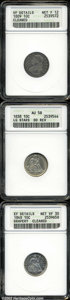 Bust Dimes: , 1809 10C --Cleaned--ANACS, VF Details, Net Fine 12, JR-1, ... (3coins)