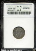 Bust Dimes: , 1828 10C Small Date AU50 ANACS. JR-1, R.2. The M in ...
