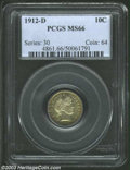 Barber Dimes: , 1912-D 10C MS66 PCGS. Well struck and seemingly pristine ...