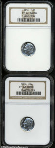 Proof Roosevelt Dimes: , 1950 10C PR68 Cameo NGC, a brilliant and sharply struck ... (2coins)