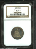 Proof Seated Quarters: , 1880 25C PR65 NGC. The obverse is lightly toned and ...