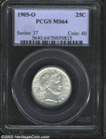 Barber Quarters: , 1905-O 25C MS64 PCGS. An attractive example with satiny ...