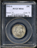 Barber Quarters: , 1915-S 25C MS66 PCGS. Speckled golden-brown and lilac ...