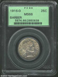 Barber Quarters: , 1916-D 25C MS66 PCGS. Lovely mauve-gray color decorates ...