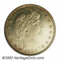 Proof Barber Quarters: , 1894 25C PR66 Cameo PCGS. The obverse has a peripheral ...