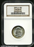 Washington Quarters: , 1948-D 25C MS67 NGC. The reverse is fabulously toned in ...