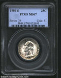 Washington Quarters: , 1950-S 25C MS67 PCGS. Bright silver color near the ...
