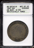 Early Half Dollars: , 1807 50C Draped Bust--Artificially Toned--ANACS. AU Details,...