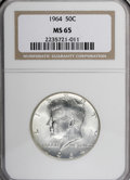 Kennedy Half Dollars: , 1964 50C MS65 NGC. . NGC Census: (460/265). PCGS Population(979/865). Mintage: 273,300,000. Numismedia Wsl. Price for NGC/...